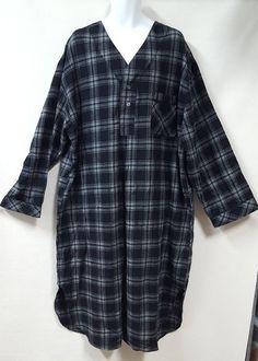 Stafford Size 2XL Flannel Long Pajamas Night Gown Black Gray Plaid Chest  Pocket  Stafford   7191c5fc0