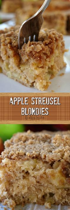 Apple Streusel Blondies - Loaded with apples, walnuts, and a delicious streusel topping, makes these blondies delicously scrumptious and perfect for Fall. Pecan Desserts, Easy Desserts, Delicious Desserts, Yummy Food, Healthy Food, Best Apple Recipes, Sweet Recipes, Favorite Recipes, Cookie Recipes