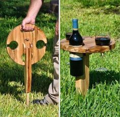 We posted something like this months ago, but this wooden wine bottle/glass holder is much sturdier and it looks like you could make it yourself without too much trouble.