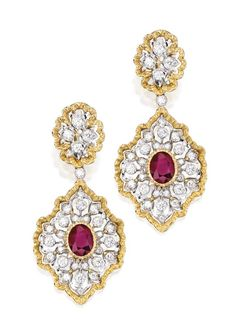 18 Karat Two-Color Gold, Ruby and Diamond Pendant-Earrings, Buccellati, Italy