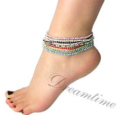 Wear rhinestone ankle bracelets alone or with several anklets at once.dreamtimecreations.com