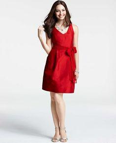 Silk Dupioni V-Neck Dress
