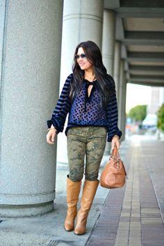 Dots & Stripes  #textures #mix #prints #dots #stripes #fashion #camo #camouflage #camel #tan #boots #skinny #pants #marcjacobs #sheerblouse #sunglasses #streetstyle #streetwear #streetfashion #casual #outfit #fashionblog #fashiondiary #fashionlookbook #lookbook #fashionista #hipster #chic #styleblog