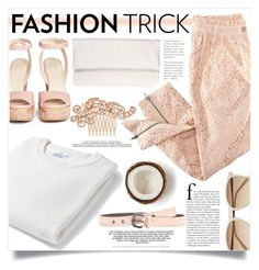 """perfectly peachy..."" by tea-and-honey ❤ liked on Polyvore featuring MANGO, Jimmy Choo, Witchery, Bottega Veneta, Lukas Gschwandtner, H&M and Jon Richard"