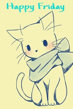 Happy Friday!!! Adorable drawing of a cat with scarf