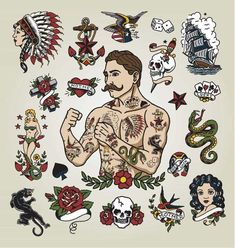 Isolated tattoo hipster man and various tattoo images. - Buy this stock vector and explore similar vectors at Adobe Stock Badass Tattoos, Tattoos For Guys, Edinburgh Tattoo, Britney Spears Tattoos, Tattoo Planets, Traditional Tattoo Man, American Traditional Tattoos, Traditional Flash, American Classic Tattoo
