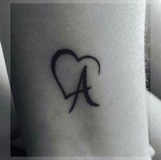 Initial Tattoo – Tattoo's World! Mom Tattoos, Wrist Tattoos, Couple Tattoos, Small Tattoos, Tattoos For Women, Tatoos, Tattoo Alphabet, Alphabet Tattoo Designs, Heart Tattoo Designs