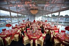 red wedding table linens | Gold and maroon table linens and chair covers #cvlinens