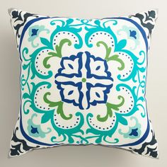 Featuring our ornate exclusive design, our chic throw pillow is made of high-performance fabric for long-term outdoor use. www.worldmarket.com #WorldMarket Outdoor Entertaining
