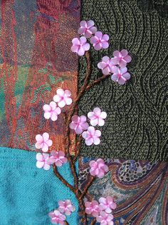 I ❤ embroidery . cherry blossoms ~By Lin Moon Crazy Quilting, Crazy Quilt Blocks, Crazy Patchwork, Types Of Embroidery, Vintage Embroidery, Ribbon Embroidery, Embroidery Stitches, Cherry Blossom Decor, Cherry Blossoms