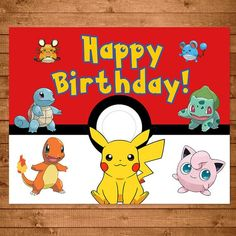 Pokemon Birthday Sign Red And White