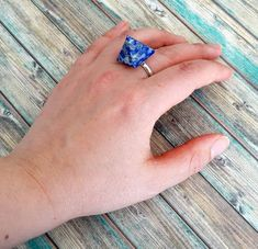 Bague lapis lazuli par Yinco 925 Silver, Heart Ring, Sapphire, Quartz, Gifts, Jewelry, Adjustable Ring, Handmade, Hands
