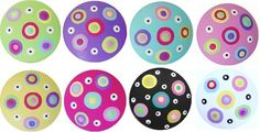 Colorful Polka Dots Handpainted Wood Drawer Pulls KNOBS