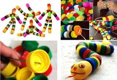 I love activities for kids that are both creative and enable recycling. This one certainly fits the bill. Plastic Bottle Caps, Bottle Cap Art, Kids Crafts, Arts And Crafts, School Holiday Activities, Activities For Kids, Bottle Top Crafts, Diy Bottle, Recycled Bottles