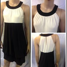 "Eliza J. Formal black & cream dress. Size 6 Eliza J. Formal dress. Bottom has a balloon skirt with a fitted bottom. Neckline is beaded with three hook and eye closure behind neck. Measures approx. 38"" in length. Bust measures approx. 34"" . Completely lined. 95% polyester, 5% spandex. Eliza J Dresses"