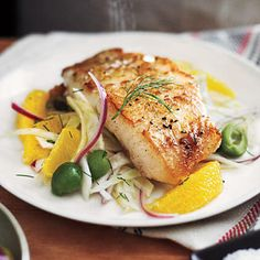 White Sea Bass with Orange-Fennel Relish by cookinglight: Sustainable choice: U. white sea bass--not to be confused with Chilean sea by Suba Fish Dishes, Seafood Dishes, Seafood Recipes, Healthy Dinner Recipes, Healthy Snacks, Vegetarian Recipes, Cooking Recipes, Easy Recipes, Breakfast Recipes