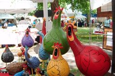 TKChighlands.com - hand painted gourd chickens, roosters and folk art