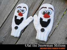 I know a little girl named Macy that would love these for Christmas. Ravelry: Olaf the Snowman Mittens pattern by Janet Jameson Crochet Baby Mittens, Knitted Mittens Pattern, Crochet Gloves, Knit Mittens, Crochet Baby Booties, Loom Knitting, Baby Knitting, Knitting Patterns, Start Knitting