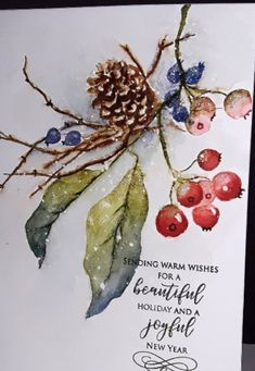 Winter Pine Cone and Berry Watercolor Christmas Card Winter Pine Cone and Berry Watercolor Christmas Watercolor Christmas Cards, Watercolor And Ink, Watercolour Painting, Watercolor Flowers, Painting & Drawing, Painted Christmas Cards, Watercolor Pictures, Paint Cards, Christmas Paintings