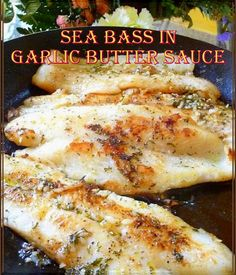 This sea bass in garlic butter sauce is almost as good as some of the restaurant meals I've had. Seafood Dishes, Seafood Recipes, Dinner Recipes, Cooking Recipes, Healthy Recipes, Simple Fish Recipes, Chicken Recipes, Cooking Sea Bass, Garlic Butter Sauce