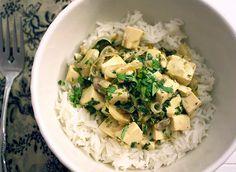 coconut tofu with ginger and lemongrass over rice - gluten free, vegan, pantry raider, making soy free sub veggies for tofu