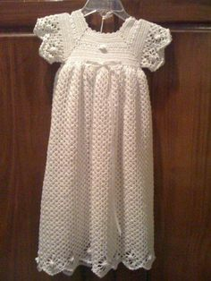 "I used the pattern ""spider edge set"" from Leisure Arts Christening Collection Book 2 to crochet this dress"