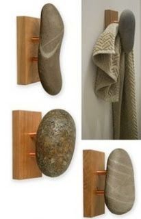 Sea-Stones - Natural Stone Wall Hook for Towel, Coat, and Spa.a little more rustic if you use pallet wood Woodworking Jigs, Woodworking Projects, Woodworking Workshop, Woodworking Techniques, Popular Woodworking, Natural Stone Wall, Natural Stones, Wall Hooks, Pebble Art