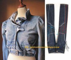 costura con jean reciclado moldes. faldas y vestidos. trucos cómo hacer hilachas en el pantalón y como pintarlos. ...