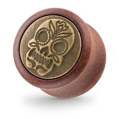 Organischer Holz Ohr Plug Braun mit mexikanischen Totenkopf