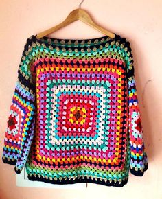 Items similar to Granny Square Sweater Crochet Boho Sweater Knit Sweater Women Clothing Fashion Accessories Gift Ideas on Etsy - Chunky Pullover Crochet Boho Sweater Fashion Outwear Oversized Sweater Knit Sweater Women Fashion A - Hippie Pullover, Pullover Mode, Crochet Cardigan, Knit Crochet, Granny Square Sweater, Vogue Knitting, Sweater Fashion, Crochet Clothes, Crochet Patterns