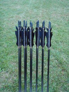 Black Flame Arrows, 50-55lb, dozen arrows, traditional wood archery arrows. $90.00, via Etsy.
