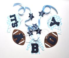 Football baby shower decorations blue it's a boy by ParkersPrints, $15.50