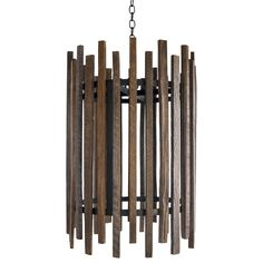 The Malcolm Collection was inspired by  the agricultural heritage of eastern North Carolina. Tobacco sticks were once used in the curing process. All sticks have been reclaimed from old tobacco barns. The Swanson Chandelier is hand crafted steel accented with hand stained Tobacco Sticks.