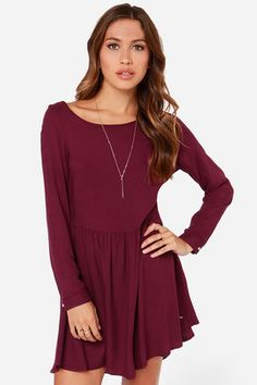 Long Sleeve Cotton Short Loose Dress - You can find this at ...