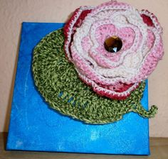 Seerose mit Blatt auf einer Leinwand