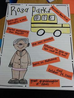 Rosa Parks, Black History Week, First Grade. Could have students work in a group or individually to chose a Civil Rights leader. This is an example, but thought bubbles about what the leader may have thought about leads to in depth thinking as well. Rosa Parks, Black History Month Activities, History Posters, Teaching Social Studies, Teaching Aids, History Projects, School Projects, Facts For Kids, Black History Facts