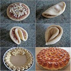 """Gâteau de """"chrysanthèmes"""" à la viande Étire avec un rouleau la pâte de la levure, sans qu'elle soit trop fine. Fais des cercles comme si tu allais faire des raviolis, mets la viande hachée et le fromage dedans, plie les cercles et mets-les dans un plateau, comme dans l'image. Mets le gâteau au four."""