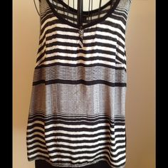 Summer Tank Cotton black in back. Some wear. Couple snags but not really noticable. Reflected in price. Silky front. Snag pictured. George Tops
