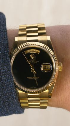 #daydate #blackdial #goldrolex #goldwatch #menswatch #luxurywatch #luxury #gold #rolex #rolexwatch #rolexdaydate #mensstyle #timepiece Rolex Watches, Watches For Men, Used Rolex, Mens Gold Jewelry, Authentic Watches, Rolex Day Date, Latest Gadgets, Watch Sale, Gold Watch