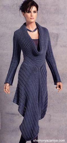Casaco Iongo-stunning indigo maxi-sweater.♥✤