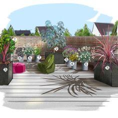 comment am nager un jardin en longueur perspective un and allah. Black Bedroom Furniture Sets. Home Design Ideas