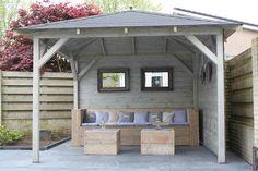 Nice for a small garden Outdoor Gazebos, Backyard Gazebo, Backyard Retreat, Outdoor Rooms, Backyard Landscaping, Outdoor Gardens, Outdoor Living, Outdoor Decor, Outdoor Couch