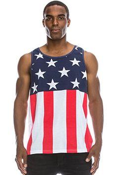 a86d36c0d301f JC DISTRO Mens Hipster Hip Hop American USA Flag Crewneck Tank Top  Collection Review