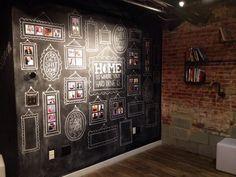 Rafaelian Rafaelian Sewell's amazing drawing on the cowork chalkboard wall Blackboard Wall, Chalk Wall, Chalkboard Paint, Chalkboard Ideas, Cafe Window, Wall Finishes, Kids Corner, Model Homes, Window Coverings