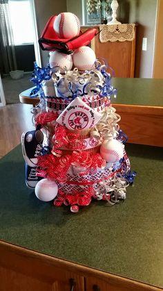 Baseball Diaper Cake Red Sox Baseball Baby Shower