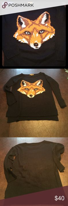 Fox sweater This super fun sweater is in fantastic condition. Has split side detail on sleeves and bottom hem. No holes/snags/stains/pulling. Worn only once for a specific theme day at work. Straight shape body, making it flattering for legging type pants. Very soft. Sweaters Crew & Scoop Necks