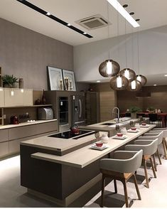 Today we will show you the 5 kitchen trends 2018 that will be IN because the new year also means new kitchen design. Luxury Kitchen Design, Kitchen Room Design, Luxury Kitchens, Home Decor Kitchen, Interior Design Kitchen, Home Kitchens, Kitchen Modern, Kitchen Lamps, Decorating Kitchen