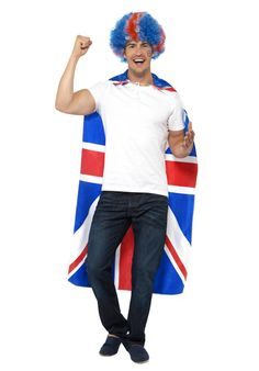This great Union Jack Cape is a fun and easy way to show off your national pride this summer. Union Jack, British Style, Cool Watches, Fancy Dress, Baddies, Madness, Ronald Mcdonald, Cape, Pride