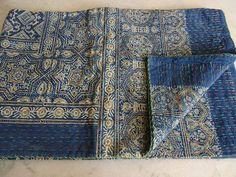 Kantha Quilt Handmade Kantha Quilt Throw King Size Ajrakh Bedcover Ajrakh Block Print Kantha Bedspread Blanket