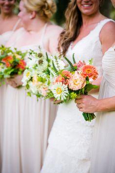 Spring bouquets: http://www.stylemepretty.com/south-carolina-weddings/charleston/2015/03/02/rustic-lowndes-grove-wedding/   Photography: Dana Cubbage - http://danacubbageweddings.com/